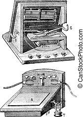Telephone  microphone ader, vintage engraving.