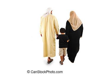 Feliz, muçulmano, família