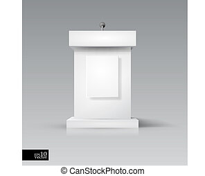 Rostrum/podium with microphone - Editable vector object for...