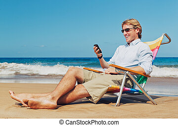 Business Man on the Beach in Hawaii - Business man calling...