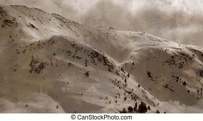 Snowy mountains landscape, vintage - A snowy mountains...