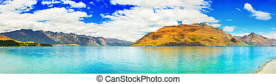 Lake Wakatipu in New Zealand Panorama
