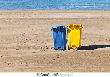 garbage containers on the beach
