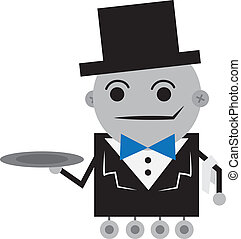 Robot Butler - Isolated robot butler holding an empty tray