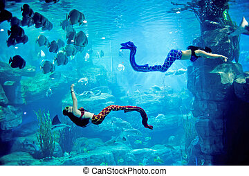 Underwater panorama with turtle, coral reef and fishes