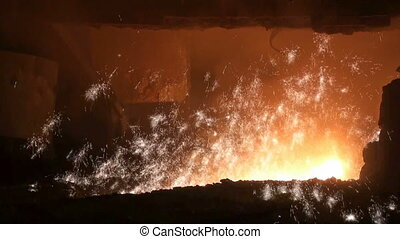 Smelting of liquid metal from blast furnace at the...