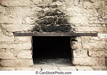 Antique brick oven - Smoky antique brick oven outdoor with...