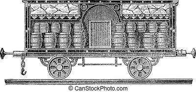 Iced beer barrels on wagon vintage engraving - Old engraved...