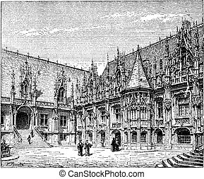 Courthouse of Rouen, France, vintage engraving.