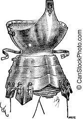 gravura, vindima,  corselet, ferro