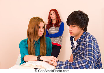 Envy - Jealous girl watching them holding hands