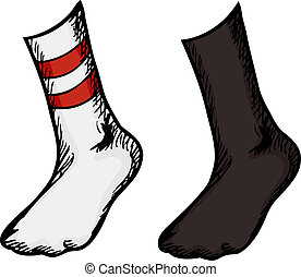 Socks With Feet In Them - Isolated feet with different socks...