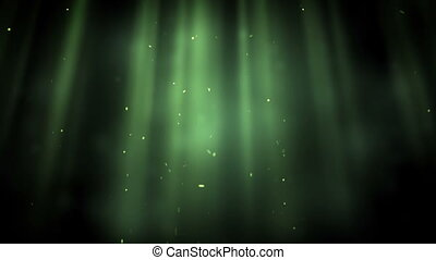 Bright points appearing in green rays against a black...
