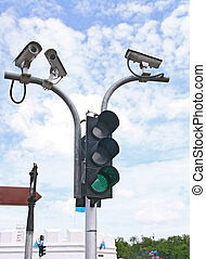 CCTV - Surveillance Security Camera or CCTV with traffic...