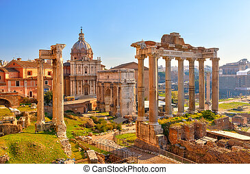 romain, ruines, rome, forum