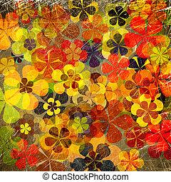 blommig, konst,  grunge, bakgrund, Årgång