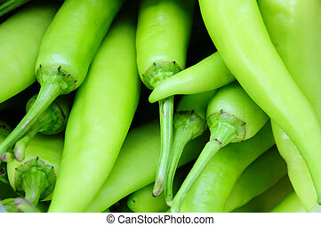 Many green chili peppers, Food raw material