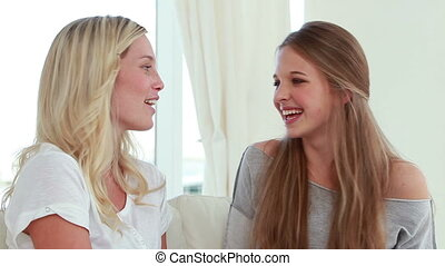 Laughing friends talking to each other in the living room