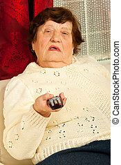 Elderly woman watch tv
