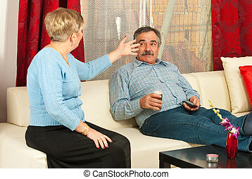 Mature couple having conflict