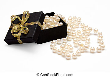 gift box with pearl beads - Gift box with golden ribbon and...