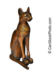 Egypt cat wooden statuette isolated on white background