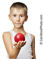 cute boy with red apple