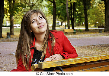 girl in autumnal park