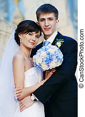 Wedding couple - wedding couple with blue bouquet