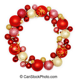 Christmas wreath decoration from red and golden color...
