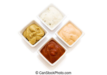 dressings - four sauce isolated on a white background