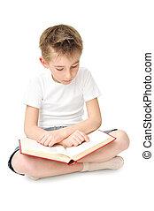 boy reading  big book