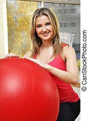 beautiful woman with pilates ball - beautiful woman portrait...