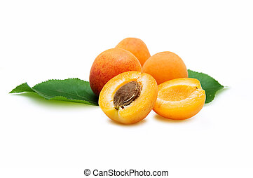 Four Apricots isolated on a white background.