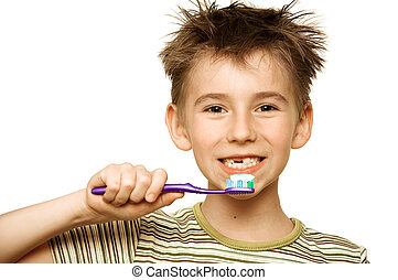 Child brushing teeth - Beautiful boy brushing teeth,...