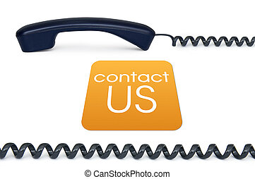 Contact us - Black handset isolated on a white background...