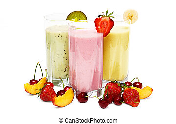 Fruit smoothies with cherry, strawberry and peach isolated...