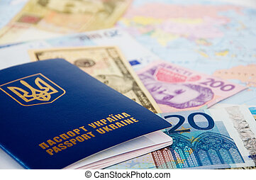 World travel - passport and money from different countries...