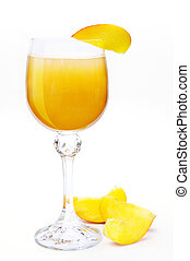 Bellini cocktail with peach. Hand made clipping path...