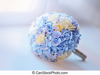 Bridal bouquet - Beautiful blue bridal bouquet on the window