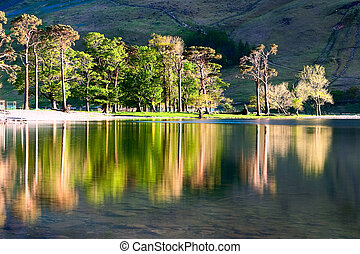 Buttermere Lake - Reflection on the Buttermere Lake in Great...