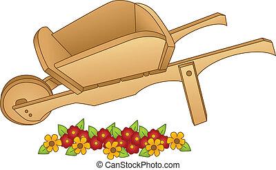 Garden Cart - Image representing a garden cart, isolated on...