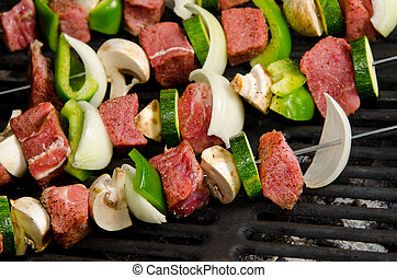 Shish Kabobs on the Grill - Shish Kabobs with Steak,...