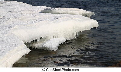 Icy water 001 - Ice floes on river bank.