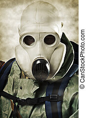 Man in gas mask Doomsday concept