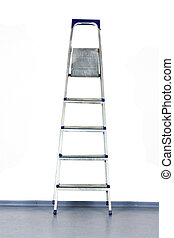 stepladder stands near a white wall
