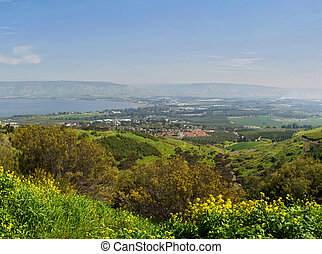 Israel - sea of Galilee Kineret lake from Arbel mountain,...