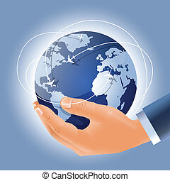 Globe with airplanes march routes in a businessman's hand -...