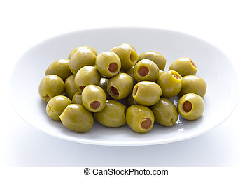 pimento stuffed green olives - green olives stuffed with...