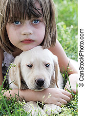 Little Girl and Her Puppy - A little girl and her puppy,...